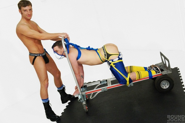 Bound Jocks sadistic top Tony Hunter Sebastian Keys tied balls 002 photo Bound Jocks: Tony Hunter and Sebastian Keys
