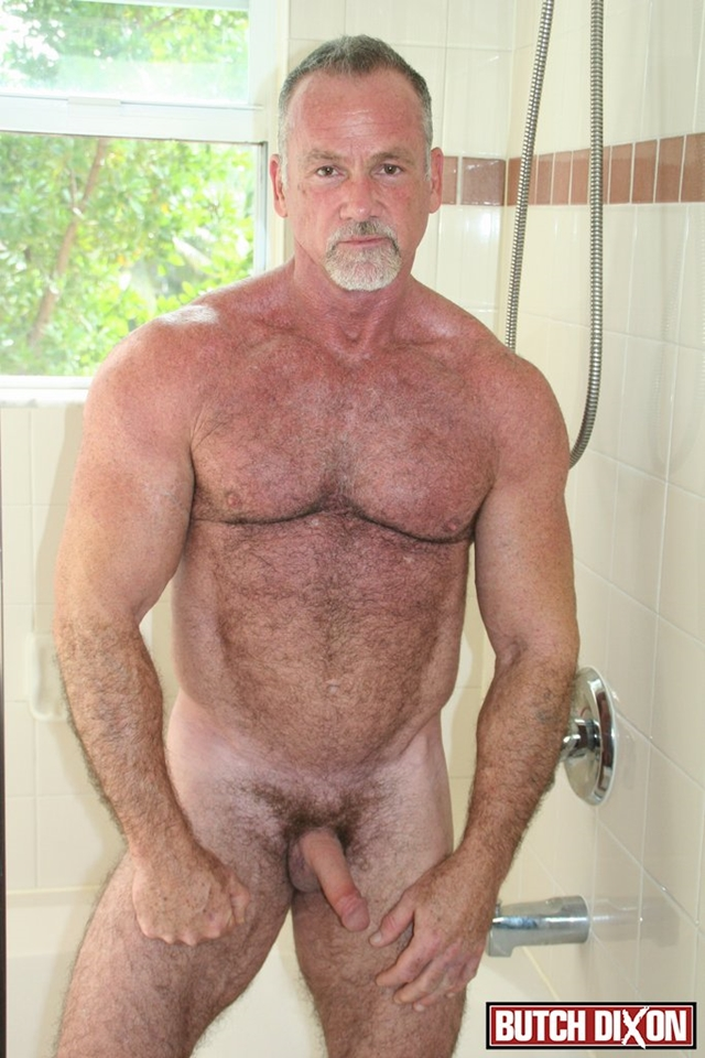 Butch-Dixon-silver-haired-hunk-older-mature-stud-Mickie-Collins-flexes-muscles-rubs-furry-tanned-skin-002-male-tube-red-tube-gallery-photo