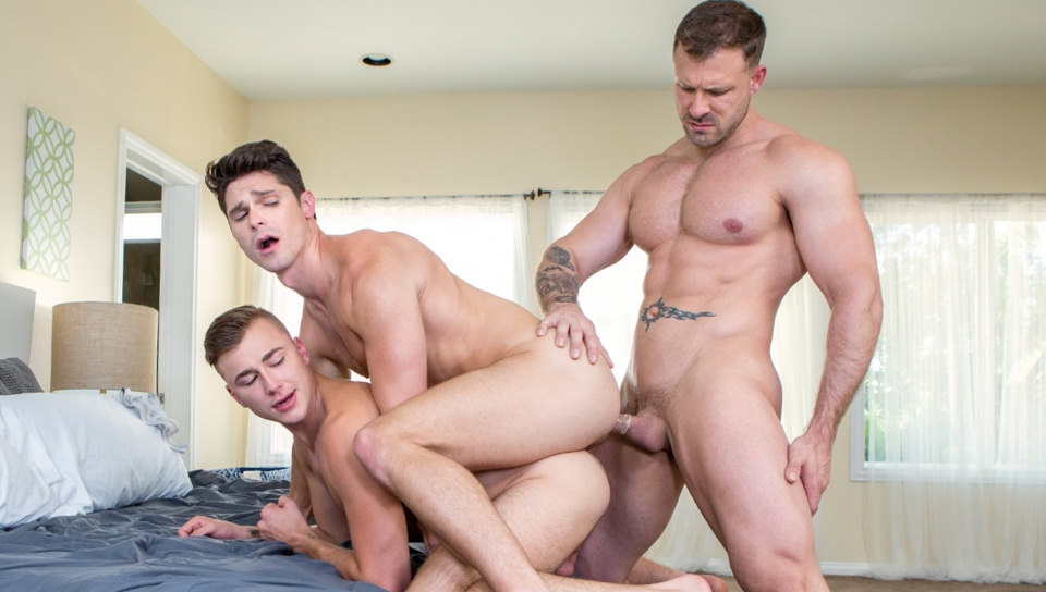 Men for Men Blog 70504_01_01 Hardcore ass fucking threesome Austin Wolf, Zander Cole and Devin Franco orgy fuck fest Falcon Studios