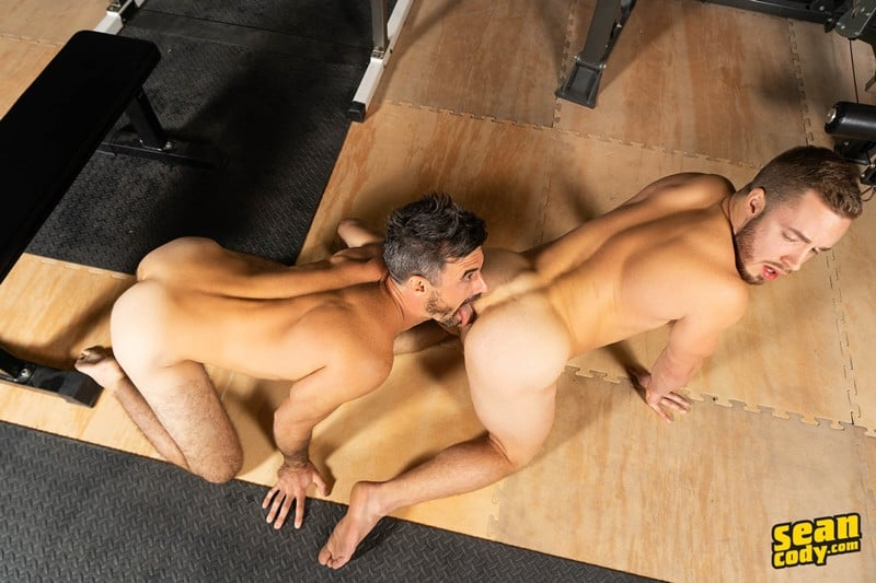 Men for Men Blog Gay-Porn-Pics-016-Stud-Daniel-muscled-Cam-sweaty-bareback-ass-fucking-SeanCody Studly Daniel leads sculpted Cam through a sweaty hands on yoga session before bareback ass fucking Sean Cody